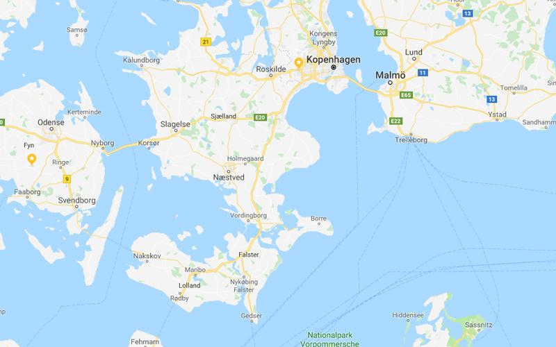 Kaart Sjælland in Denemarken