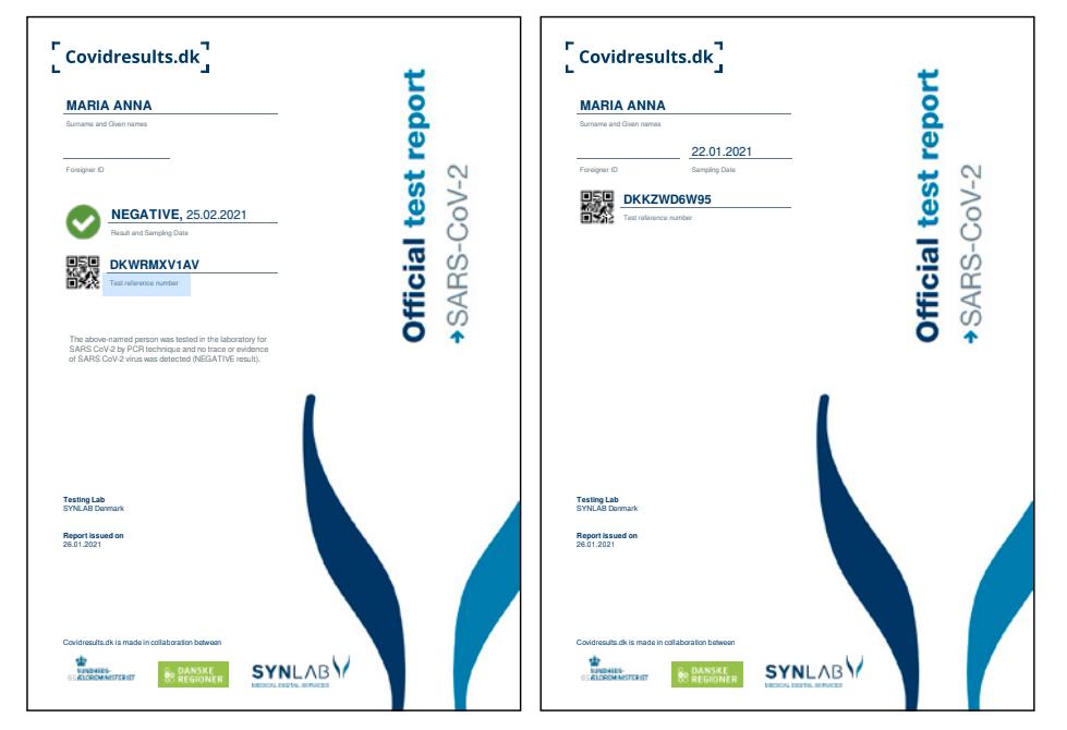 Voorbeeld testcertificaten Coronatest Denemarken