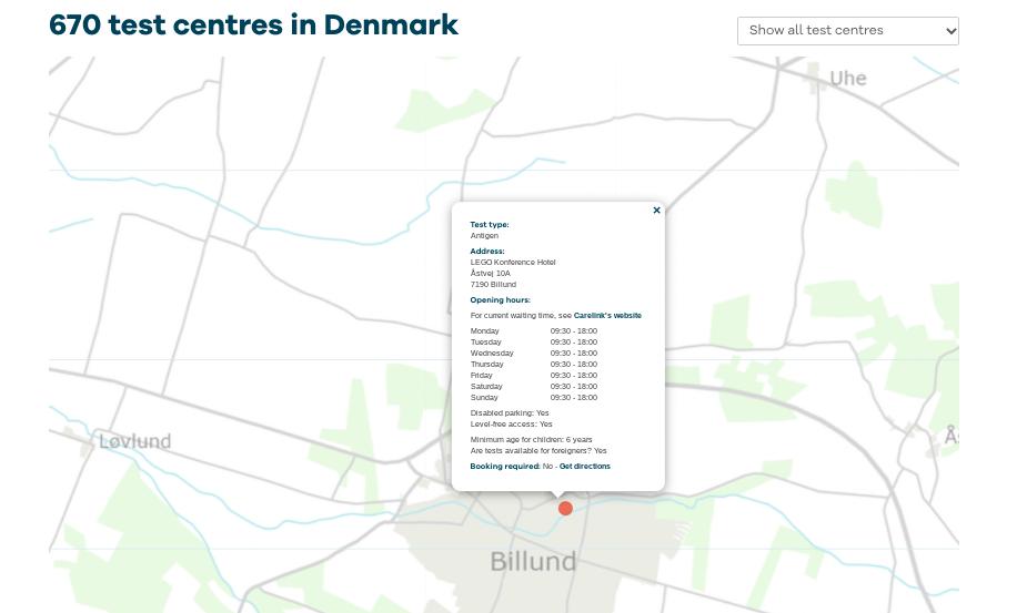 Corona testlocaties in Denemarken